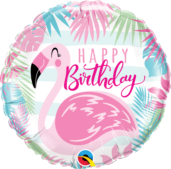 Happy Birthday Pink Flamingo Balloon