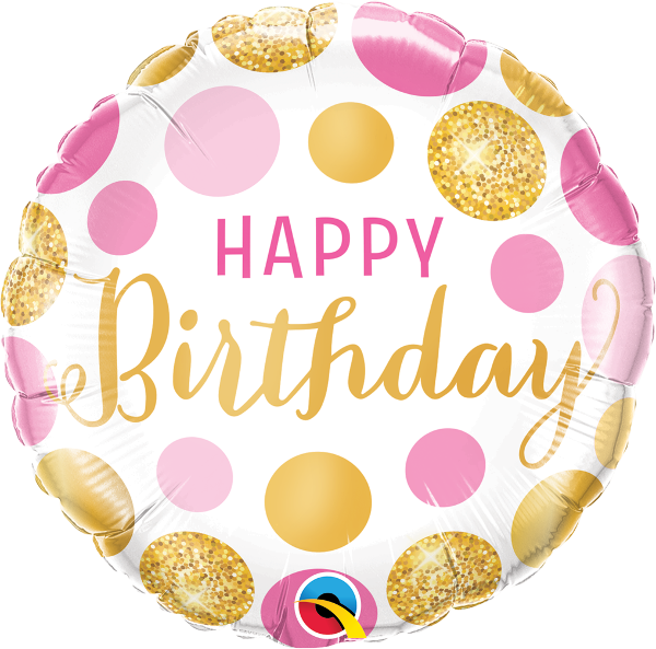 Happy Birthday Pink & Gold Dots Balloon