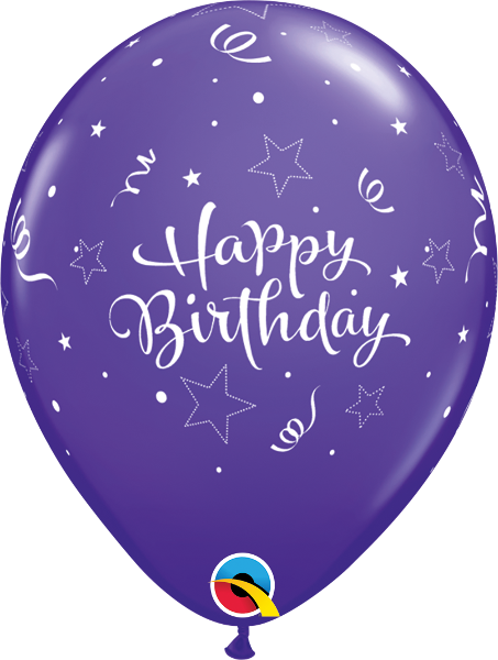 "Happy Birthday Shinny Star Fashion Purple Violet 11"" Balloons"