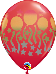 "Birthday Spray Red 11"" Balloons"