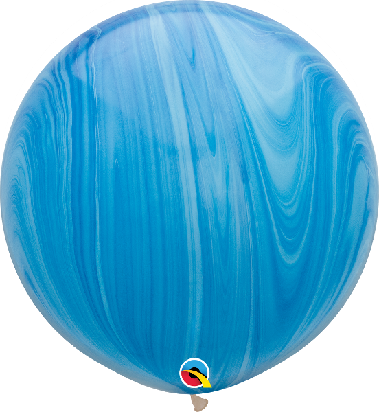 SuperAgates Blue Rainbow 3ft. Round Balloons