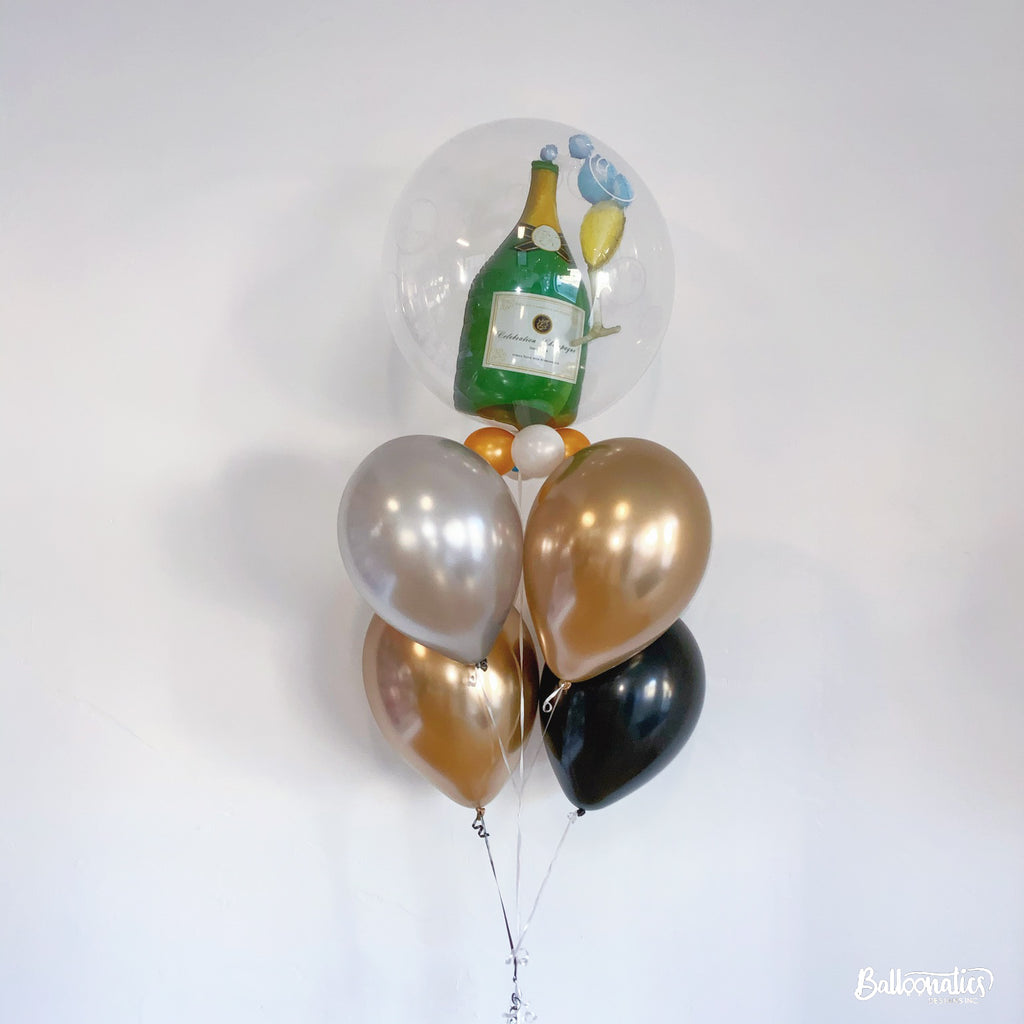 Bubbly Wine Bottle & Glass Balloon Bundle of 5 (Chrome)