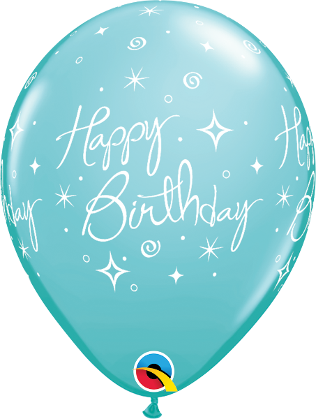 "Happy Birthday Elegant Sparkles & Swirls Fashion Caribbean Blue 11"" Balloons"