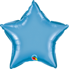 "20"" Chrome Blue Star Foil Balloon"