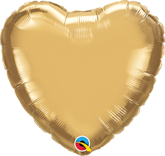 "18"" Chrome Gold Heart Foil Balloon"