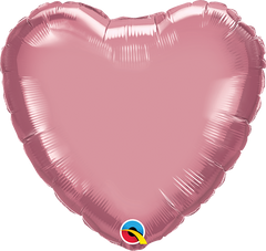 "18"" Chrome Mauve Heart Foil Balloon"