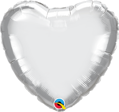 "18"" Chrome Silver Heart Foil Balloon"
