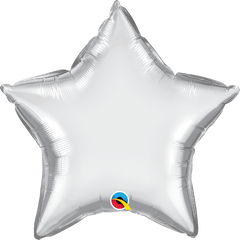 "20"" Chrome Silver Star Foil Balloon"