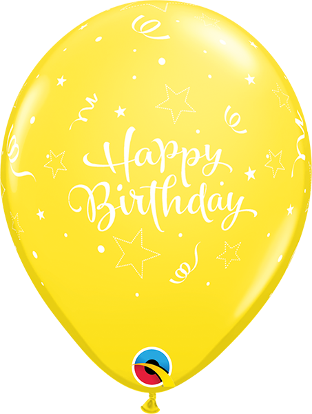 "Happy Birthday Shining Star Yellow 11"" Balloons"
