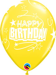 "Happy Birthday Loops & Stars Pearl Citrine Yellow 11"" Balloons"