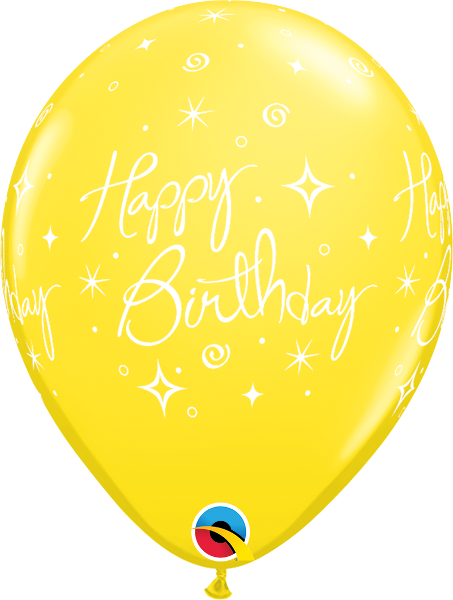 "Happy Birthday Elegant Sparkles & Swirls Yellow 11"" Balloons"