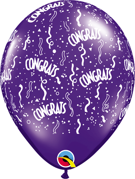 "Congrats-A-Round Jewel Quartz Purple 11"" Balloons"
