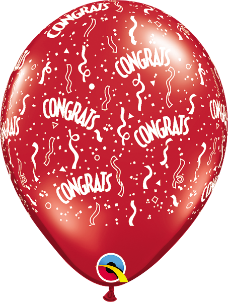 "Congrats-A-Round Jewel Ruby Red 11"" Balloons"
