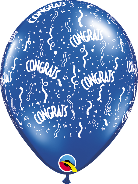 "Congrats-A-Round Jewel Sapphire Blue 11"" Balloons"