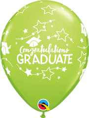 "Congratulations Graduate Stars Fashion Lime Green 11"" Balloons"
