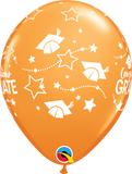 "Congratulations Graduate Stars Orange 11"" Balloons"