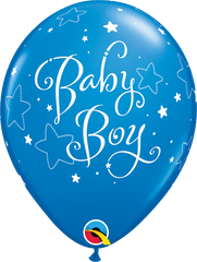 "Baby Boy Stars Dark Blue 11"" Balloons"