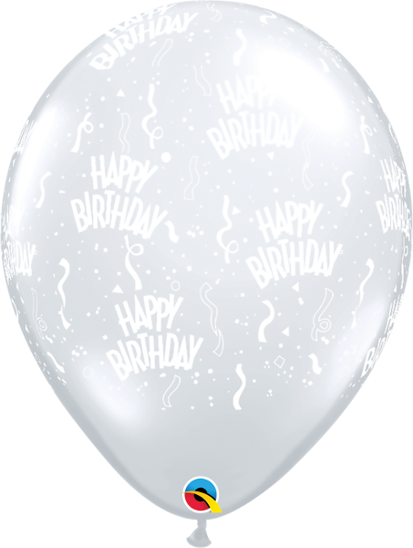 "Happy Birthday-A-Round Diamond Clear 11"" Balloons"