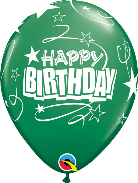 "Happy Birthday Loops & Stars Green 11"" Balloons"