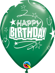 "Happy Birthday Loops & Stars Pearl Emerald Green 11"" Balloons"