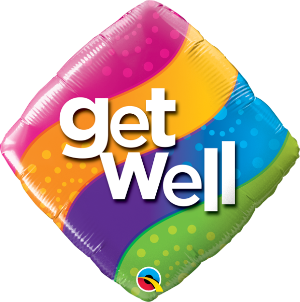Get Well Curvy Stripes Balloon