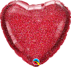 "18"" Glittergraphic Red Heart Balloon"