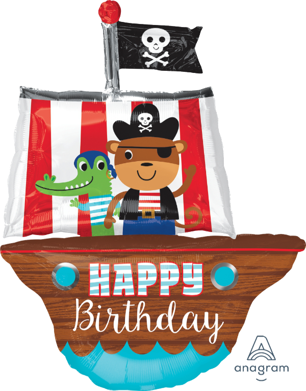 Happy Birthday Pirate Ship Supershape Balloon