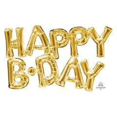 "Air-filled Gold ""Happy B-Day"" Foil Balloon Letters"