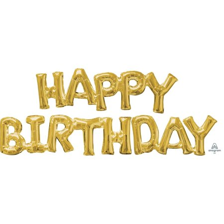 "Air-filled Gold ""Happy Birthday"" Foil Balloon Letters"
