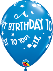 "Happy Birthday To You Music Notes Dark Blue 11"" Balloons"