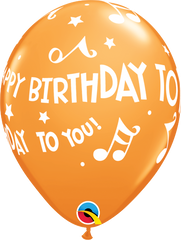 "Happy Birthday To You Music Notes Orange 11"" Balloons"
