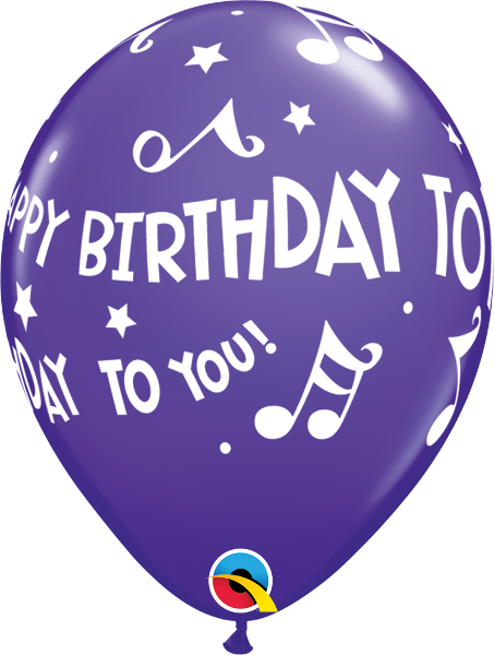 "Happy Birthday To You Music Notes Fashion Purple Violet 11"" Balloons"