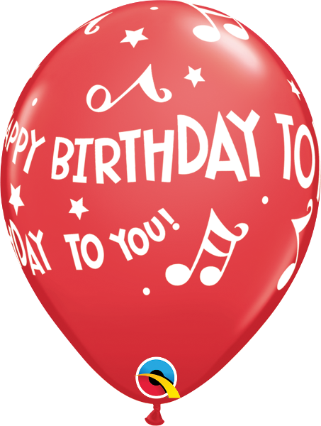 "Happy Birthday To You Music Notes Red 11"" Balloons"