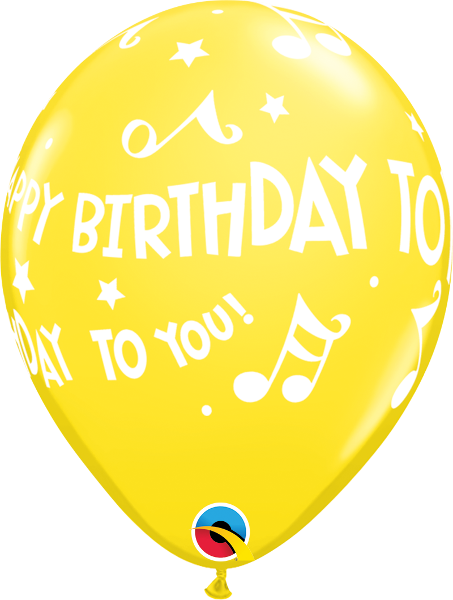 "Happy Birthday To You Music Notes Yellow 11"" Balloons"