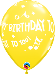 Happy Birthday To You Music Notes Yellow 11 in Balloons