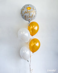 Congrats Grad White & Gold Balloon Package