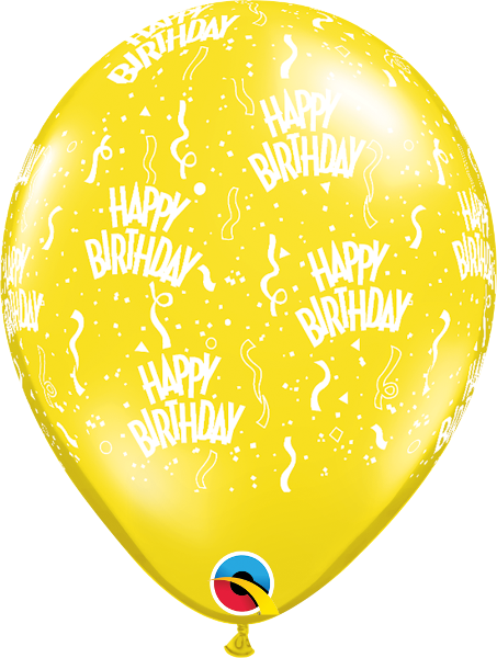 "Happy Birthday-A-Round Jewel Citrine Yellow 11"" Balloons"