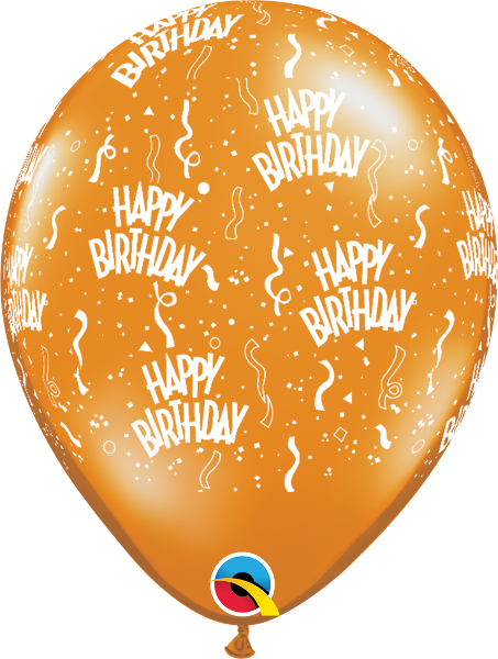 "Happy Birthday-A-Round Jewel Mandarin Orange 11"" Balloons"