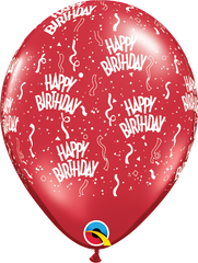 "Happy Birthday-A-Round Jewel Ruby Red 11"" Balloons"