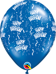 "Happy Birthday-A-Round Jewel Sapphire Blue 11"" Balloons"