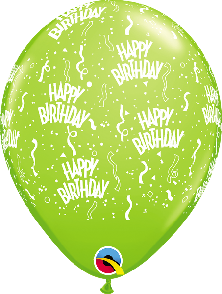 "Happy Birthday-A-Round Fashion Lime Green 11"" Balloons"
