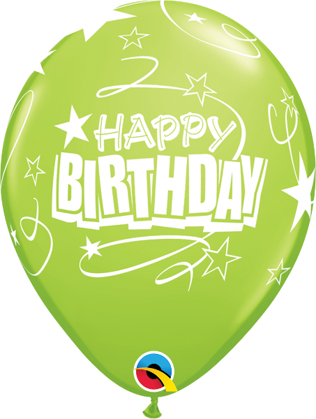 "Happy Birthday Loops & Stars Lime Green 11"" Balloons"