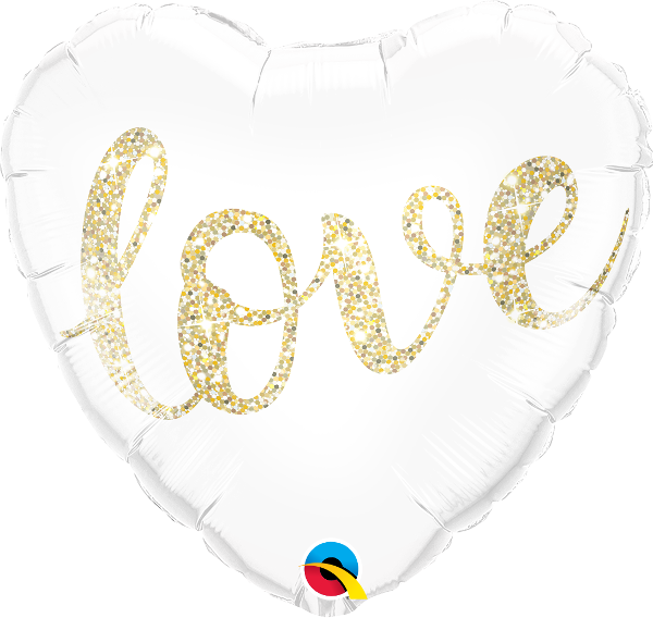 Love Glitter Gold Balloon
