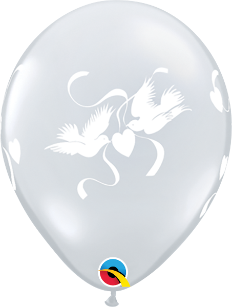"Love Doves Diamond Clear 11"" Balloons"