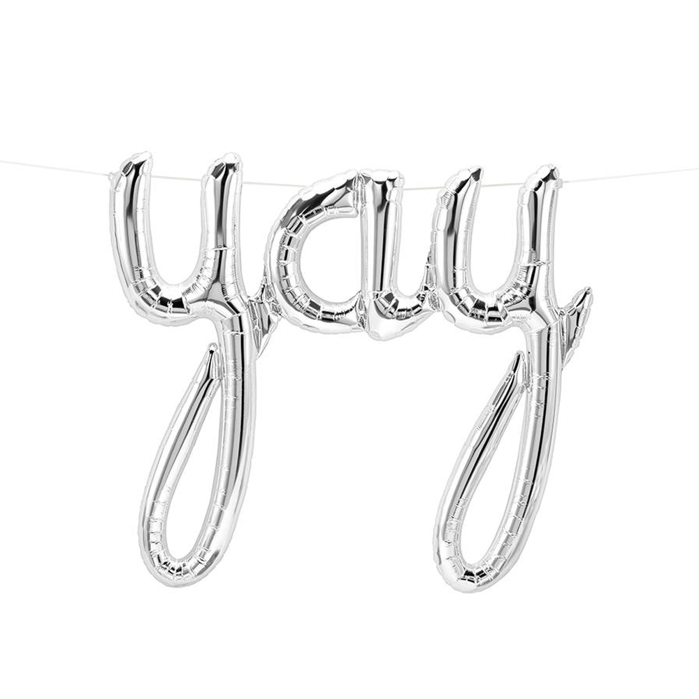 "Silver ""Yay"" Foil Balloon Letters"