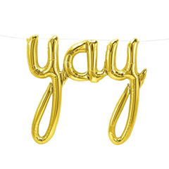 "Gold ""Yay"" Foil Balloon Letters"