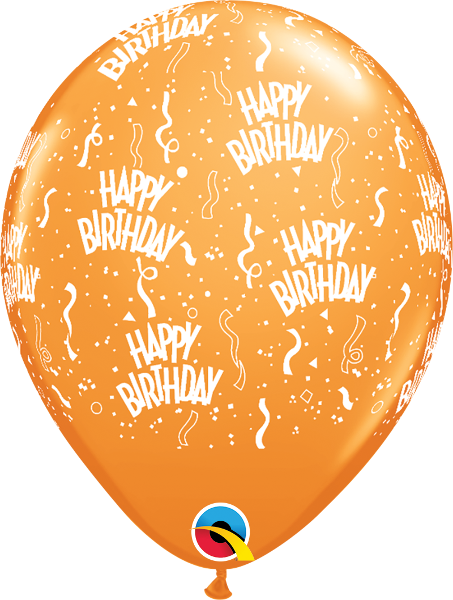 "Happy Birthday-A-Round Orange 11"" Balloons"