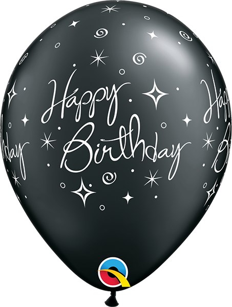 "Happy Birthday Elegant Sparkles & Swirls Pearl Onyx Black 11"" Balloons"