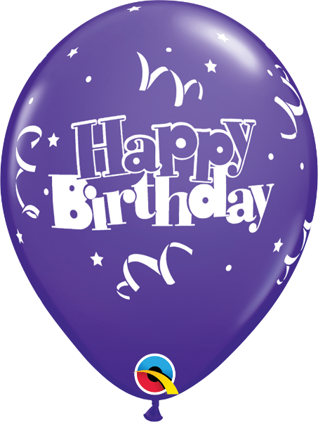 "Happy Birthday Streamers & Stars Fashion Purple Violet 11"" Balloons"