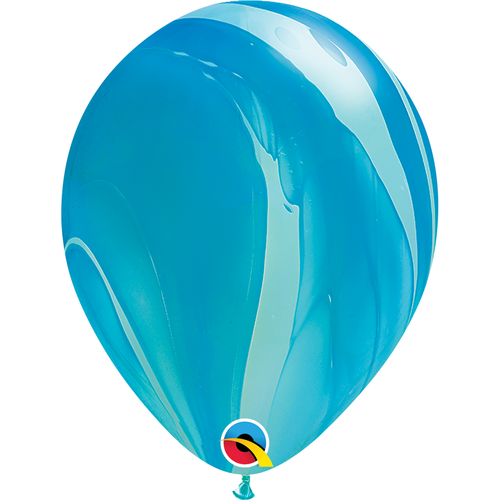 "SuperAgates Blue Rainbow 11"" Balloons"